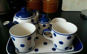 polka dot ceramic tea set