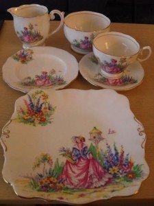 garden scene tea service