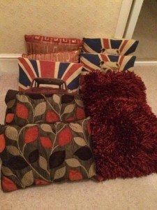 ten throw cushions